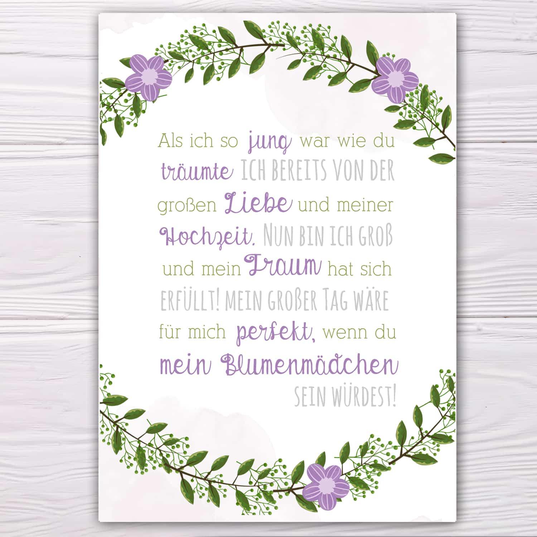 Postkarte Lila Grun Fur Blumenmadchen Herzpost