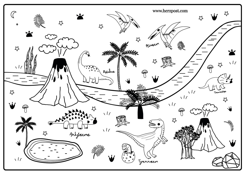Dinosaurier Ausmalbild in Größe A7 aus 7g Qualitätsdruck matt für  Kinderbeschäftigung