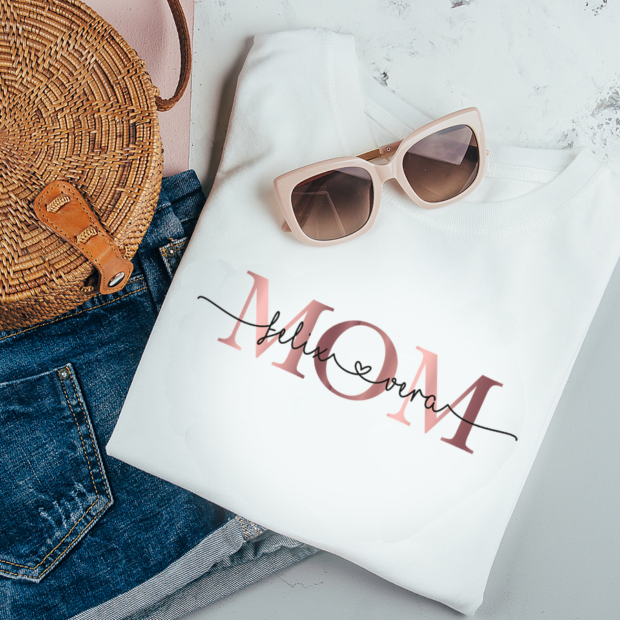 Personalisiertes Mama ShirtMOM mit Kindernamen Gold//Dunkelrot aus Baumwolle in XS-XXL