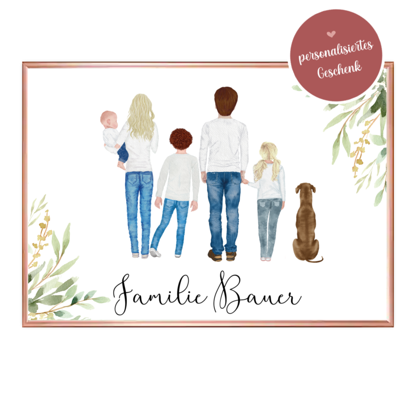 Poster Familie, Poster Familie personalisiert, Geschenk Familie personalisiert, Geschenk Mama personalisiert, Geschenk Muttertag personalisiert, Geschenk Vatertag personalisiert, Familien Print, Familie Poster, Familie mit Hund Geschenk
