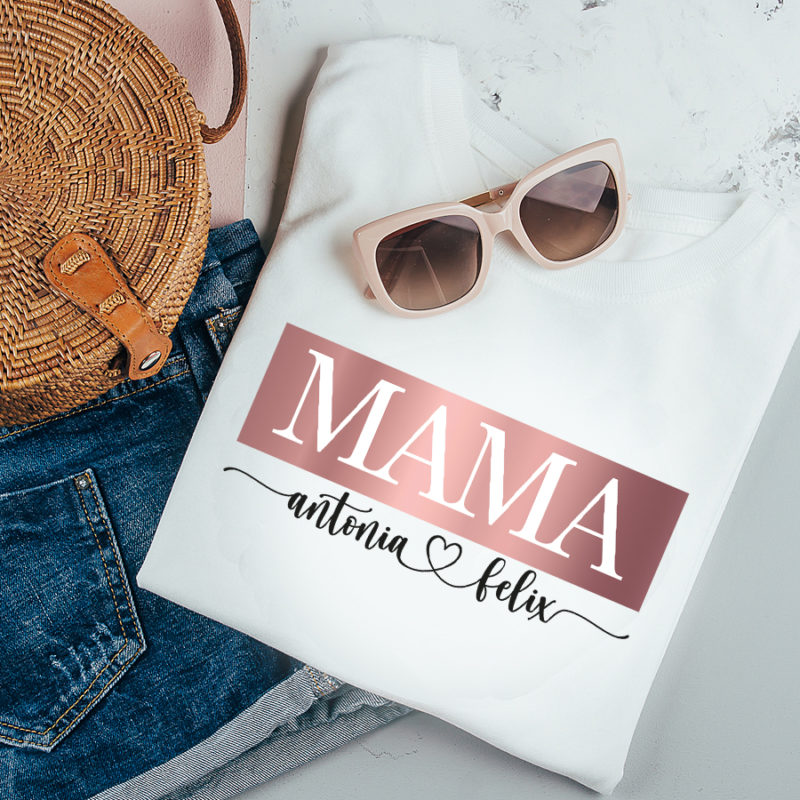 Mama T-Shirt mit Kindernamen, T-Shirt Mama, Mama personalisiert, personalisiertes T Shirt mit Namen, personalisiertes T-Shirt Mama, Muttertag Geschenk, Geschenk Mama personalisiert, Geschenk Muttertag personalisiert