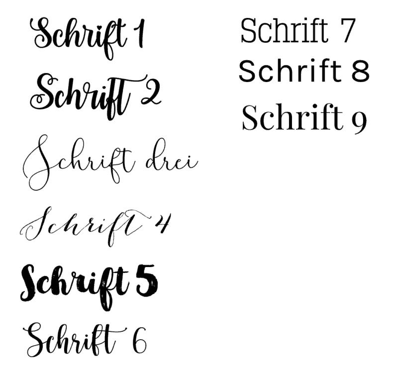 Schriftarten zur Auswahl bei den Osterkörbchen