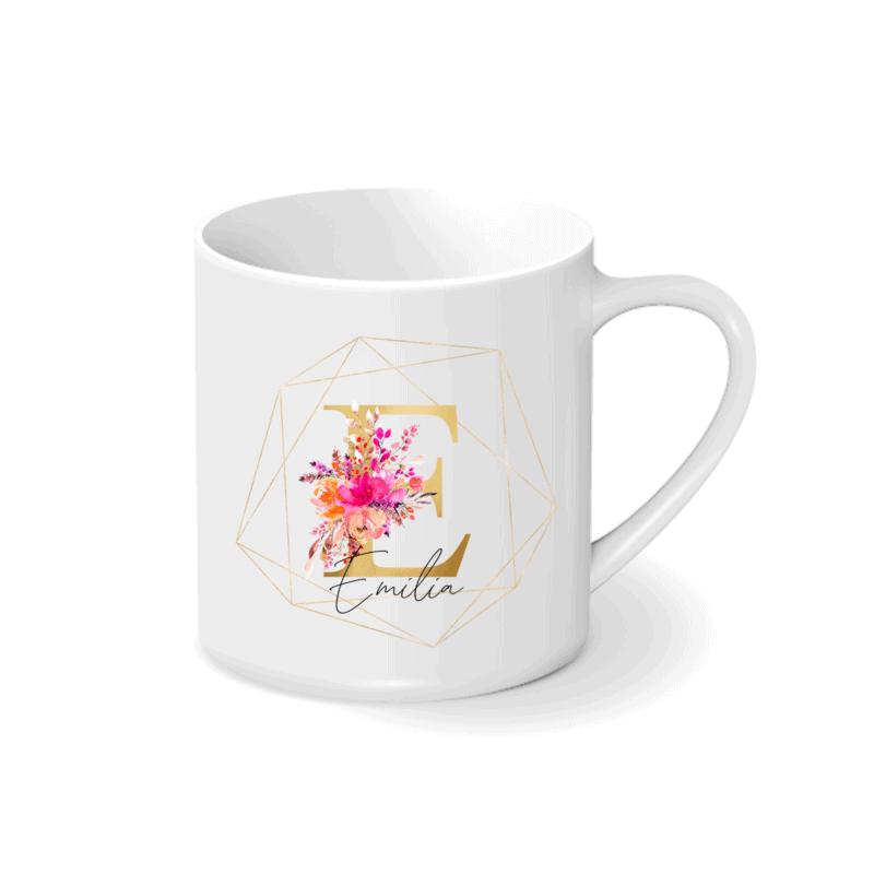 Buchstabentasse, Florale Buchstaben auf Tasse, Tasse personalisiert, Geschenkidee zum Geburtstag, Tasse mit Name und Initiale, Buchstabe Name Blume, Bedruckte Tasse, Buchstabentasse Geschenk, Emaille-Tasse mit Namen, Tasse mit Blumen, personalisierte Tasse Blumen, Geschenk Mama, Geschenk Freundin, Tasse mit Name und Blumen, Tasse mit Buchstaben und Blumen, Geschenkidee mit Blumen