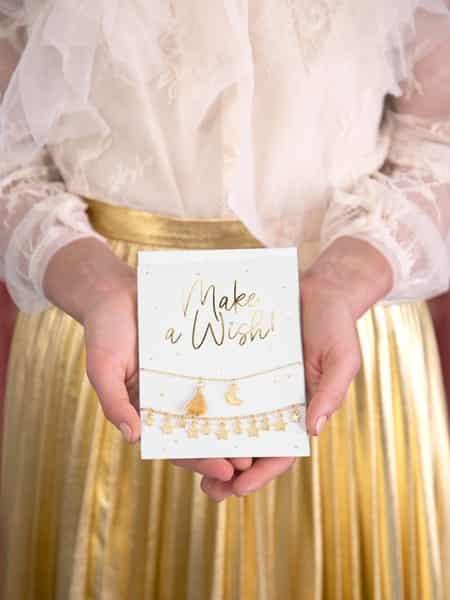 Postkarte mit Armband, Postkarte für beste Freundin, Postkarte für Wünsche, Postkarte für Kinder, Armbänder vergoldet, Sternenarmband, Make A Wish Postkarte
