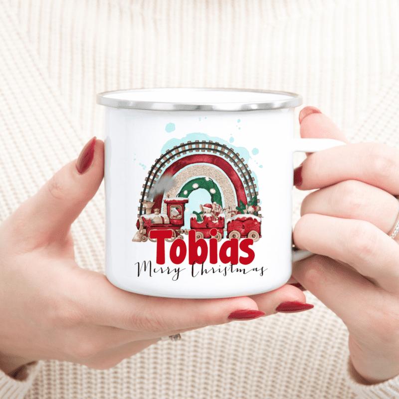 Nikolausgeschenk, Weihnachtsgeschenk , Wichtelgeschenk, Emaille-Tasse Weihnachten, Geschenksidee Kinder Weihnachten, Santa Tasse, Santa Emaille-Tasse, personalisiertes Geschenk Kinder, Geschenk beste FreundinEmaille-Tasse Kinder, personalisierte Tasse, personalisierte Emaille-Tasse, Trinkbecher Kinder, personalisierter Weihnachtsbecher, Kaffeetasse