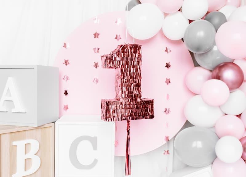 Pinata Zahl, Pinata Kindergeburtstag, 1. Geburtstag, Geburtstag Kinder, Pinata rosegold, Geburtstagsdekoration rosegold, Pinata 1. Geburtstag