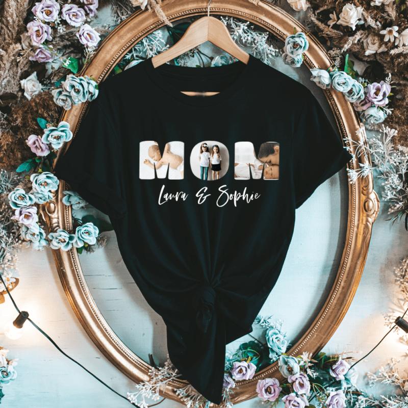 Mama T-Shirt mit Kindernamen, T-Shirt Mama, Mama personalisiert, personalisiertes T Shirt mit Namen, personalisiertes T-Shirt Mama, Muttertag Geschenk, Geschenk Mama personalisiert, Geschenk Muttertag personalisiert Weihnachten Geschenk-Idee Kinder Oma, Geschenk mit Foto, Fotogeschenk, Fotogeschenk Mama